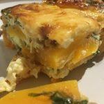 Baked eggs with grilled squash, spinach, ginger, onion, cheddar & mozzarella (Vegetarian RECIPE)